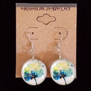 Tree of Life Double Sided Glass Dome Earrings